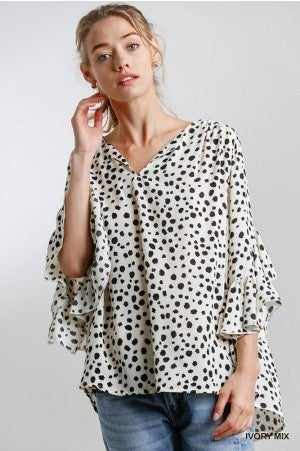 Umgee Ivory Dalmatian Print Ruffled Bell Sleeves Top