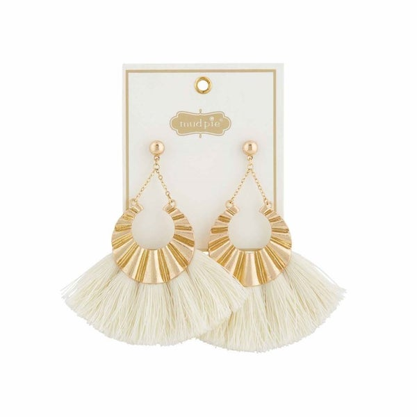 Mud Pie Metal Tassel Cream Earrings