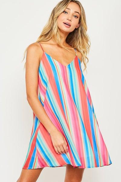 Peach Love Multi Striped Dress