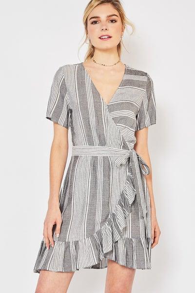 Entro Striped Wrap Dress
