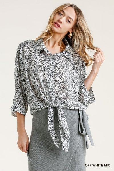 Umgee Sheer Animal Print Button Down w/ Gold Flakes Top