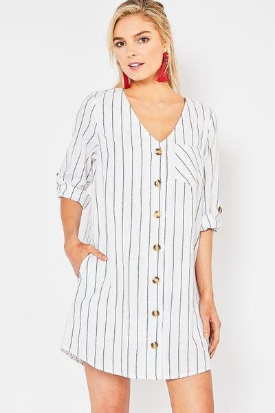 Entro Pinstriped V-neck Button-up Dress
