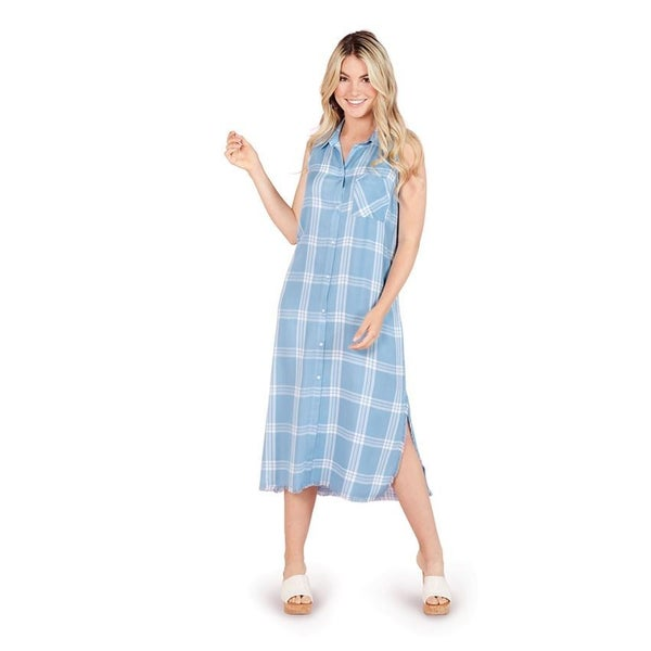 Mud Pie Lou Button Down Blue Dress