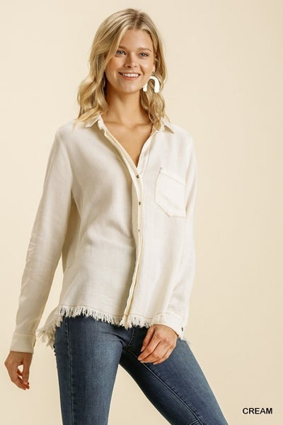 Umgee Cream Mineral Washed Button Down Collar Shirt