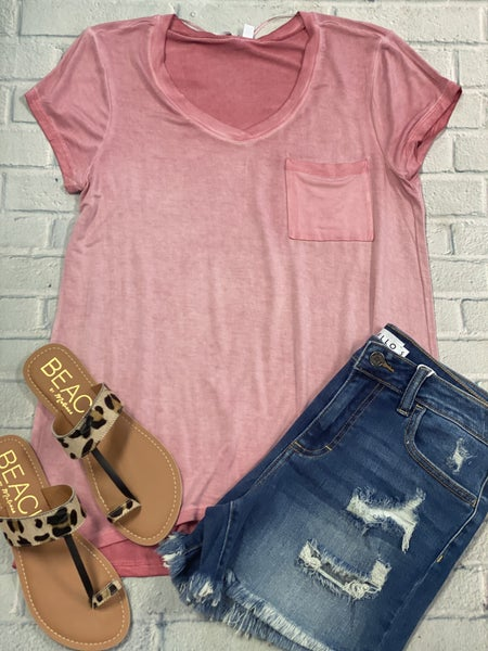 Dusty Rose Mineral Wash Tee