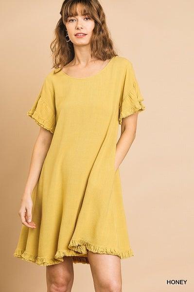 Umgee Honey Ruffle Sleeve Round Neck Dress