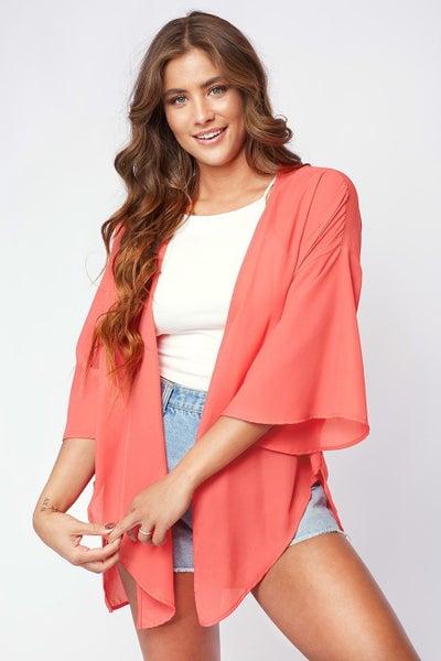 Peach Love Coral Pink Solid Kimono