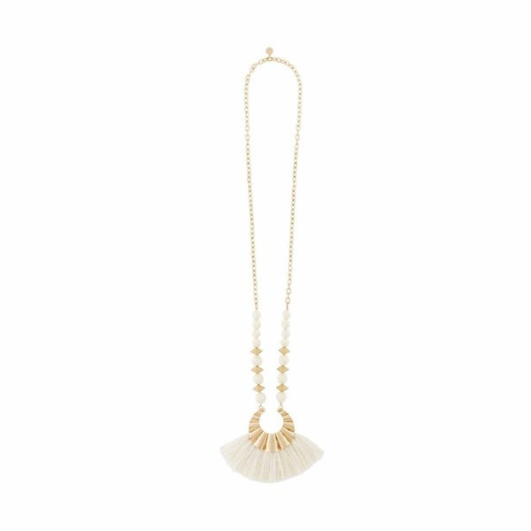 Mud Pie Beaded Tassel Cream Necklace