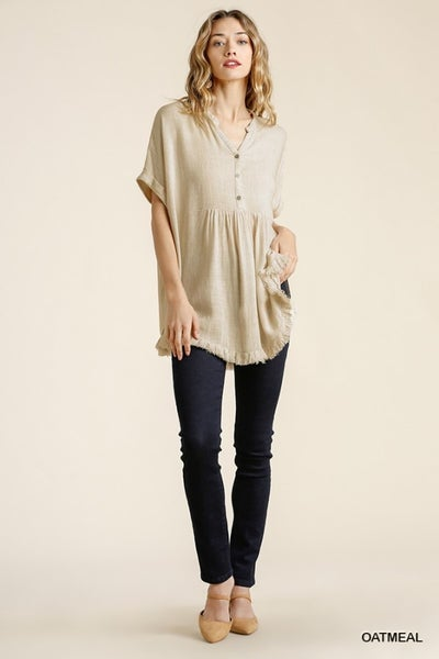 Umgee Oatmeal Button Front Top w/ Side Slits