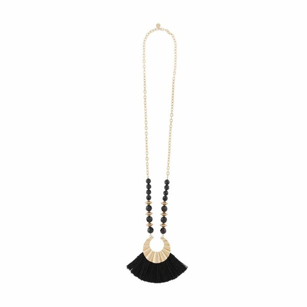 Mud Pie Beaded Tassel Black Necklace