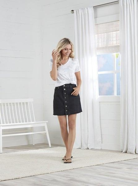 Mud Pie Fitz Black Button Front Skirt