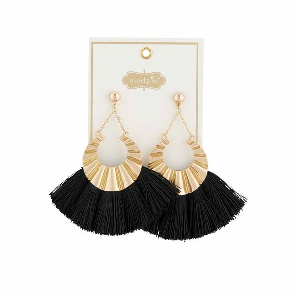 Mud Pie Metal Tassel Black Earrings