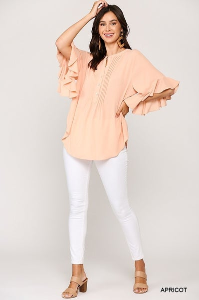 GiGio Apricot Pintuck Detailed Ruffle Sleeve Top