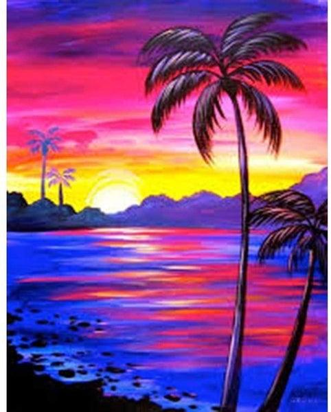 "9/23: Palm Trees (Full drill - round diamonds) 9.5""x13.5"" (#1622)"