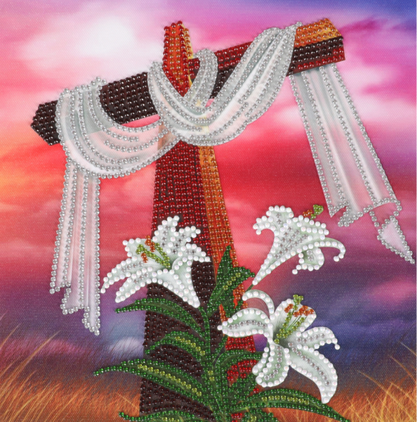 """9/23: Easter Cross (Partial) 9.5""""x9.5"""" (#1624)"""