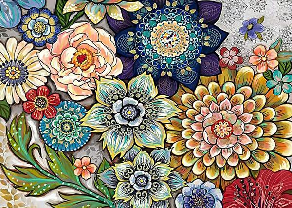 """9/9: Mosaic Flowers (Full drill - round diamonds) 10""""x14"""" (#564)"""