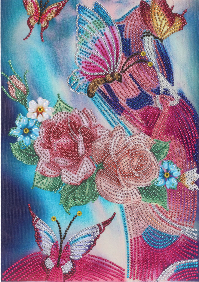 """Butterfly and Flowers (Partial) 9.5""""x11.5"""" (#97)"""