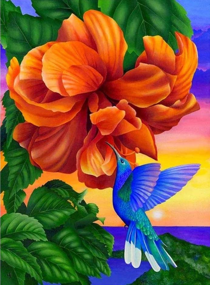 """9/19: Orange Flower Hummingbird (Full drill - round diamonds)11.5""""x9.5"""" (#1082)"""