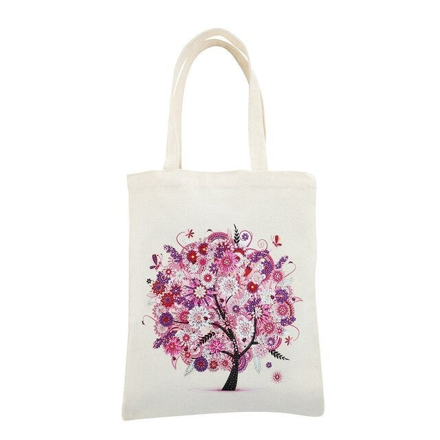 """6/15: Canvas Tote Pink Tree 11.5""""x13.5"""" (#827)"""