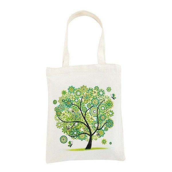 "8/19: Canvas Tote Green Tree 11.5""x''13.5"" (#826)"