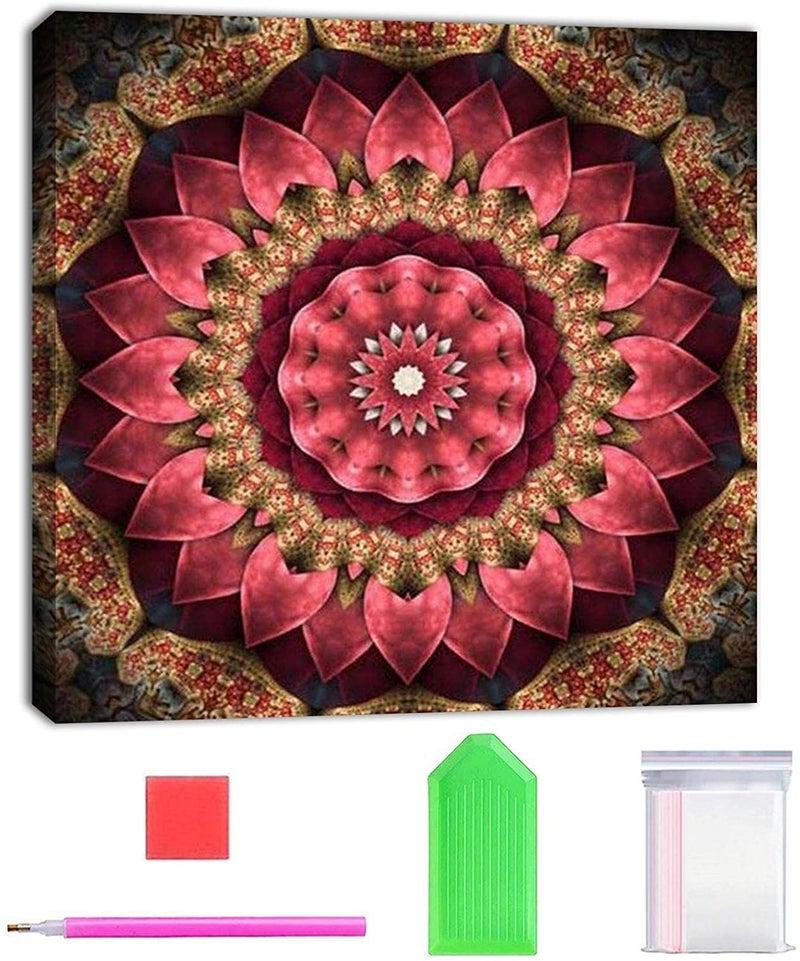 """9/14: Pink Mosaic 9.5""""x9.5"""" (Full drill - round diamonds) (#519)"""