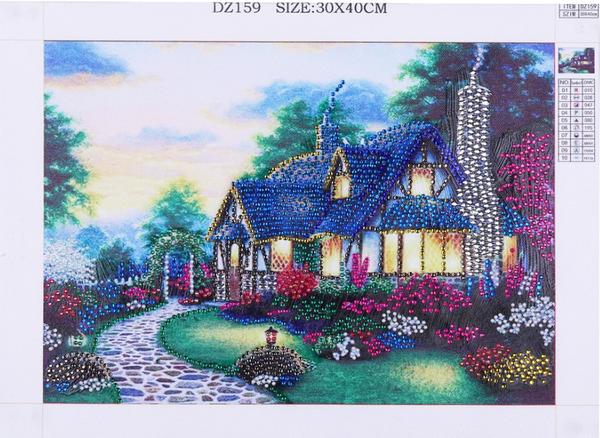 """8/29: Peaceful Cottage (Partial)9.5""""x11.5"""" (#R)"""