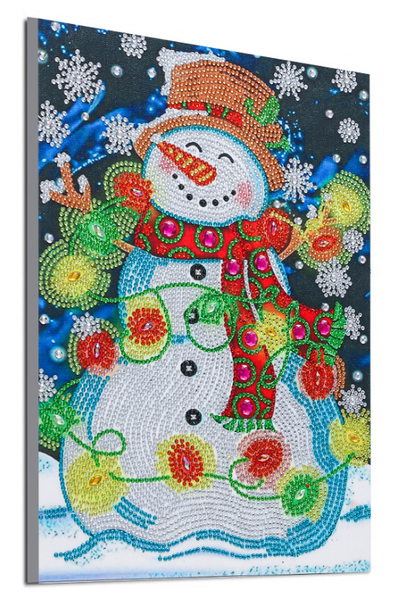 """8/12: Snowman with Lights (Partial) 9.5""""x11.5"""" (#1707)"""