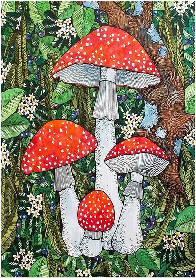 """9/16: Mushrooms (Full drill - round diamonds) 12""""x16"""" (#1598)"""