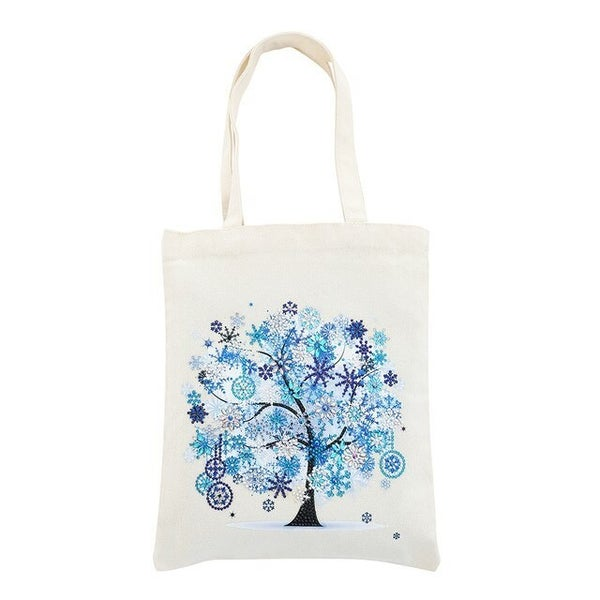 """4/25: Canvas Tote with Blue Tree 11.5""""x13.5"""" (#1354)"""