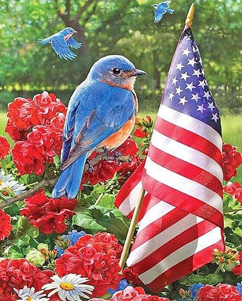"4/3: Blue bird on flowers beside flag (Full drill - round diamonds) 12""x15.5"" (#1067)"