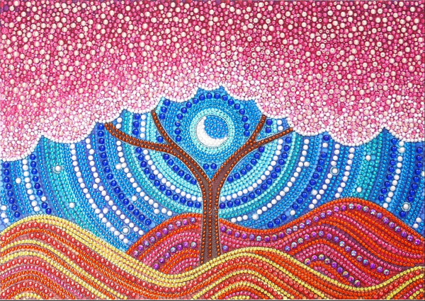 "9/9: Pink Rhinestone Tree (Partial) 9.5""x11.5"" (#1658)"