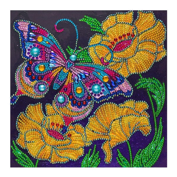"""Butterfly and Yellow Flowers (Partial) 9.5""""x9.5"""" (#326)"""