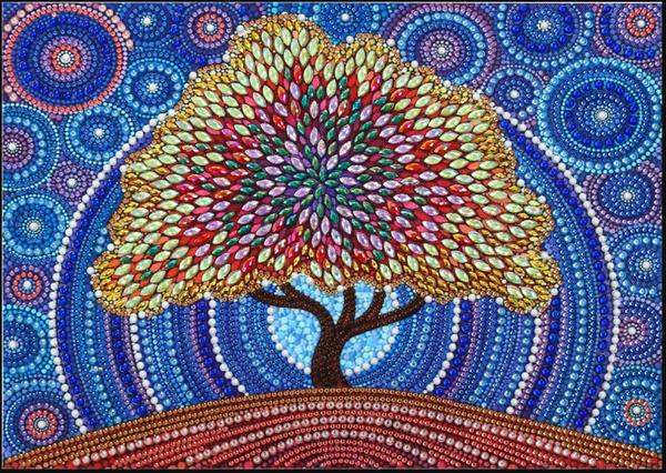 """9/16: Rhinestone Tree (Partial) 9.5""""x11.5"""" (#1656)"""