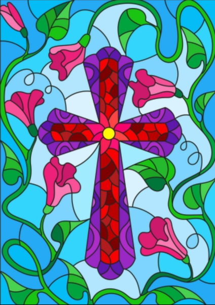 "9/7: Square Diamonds - Stained Glass Cross - 24""x32"" (GF-2958)"