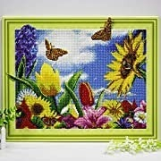 """9/19: Flowers and Butterflies (Full drill - Canvas Wrapped on Frame) 12.5""""x17.5"""" (#1020)"""