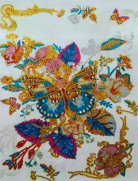 """9/14: Gold Butterflies (Partial) 9.5""""x11.5"""" (#1648)"""