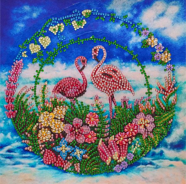 """9/14: Beach Flamingoes (Partial) 9.5""""x9.5"""" (#1548)"""