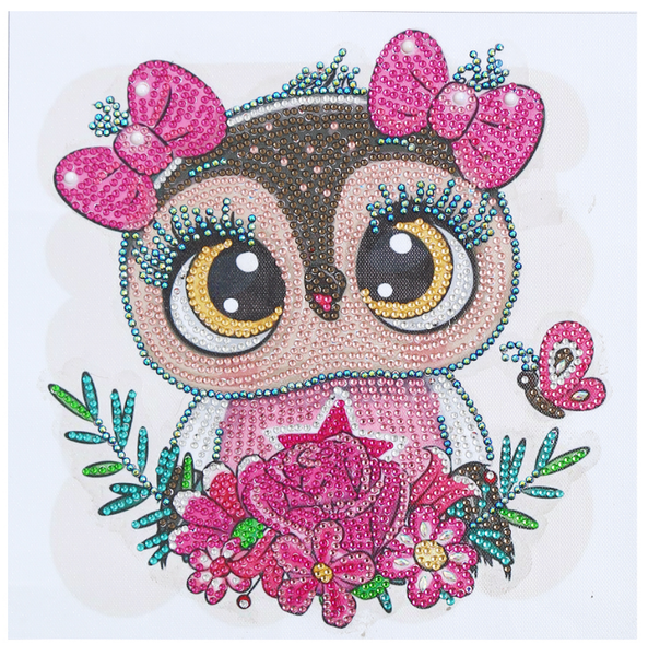 """9/19: Owl with Pink Hair Bows (Partial) 9.5""""x9.5"""" (#1712)"""