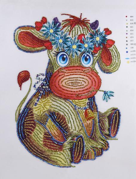 """9/21: Flower Cow (Partial) 11.5""""x9.5"""" (#855)"""