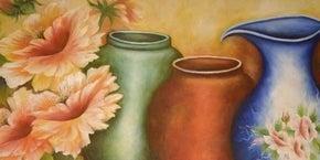 "Full drill - Square Diamonds - Vintage Vases - 12""x24"" (#2823)"
