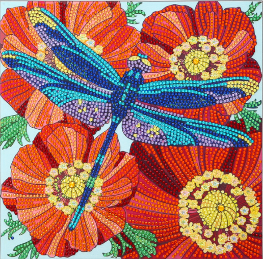 """9/16: Dragonfly on Flowers (Partial) 9.5""""x9.5"""" (#1670)"""