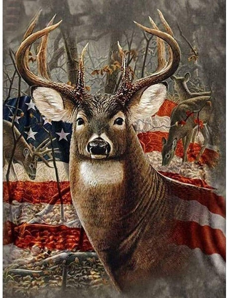 7/31: Deer with Flag (Full drill - SQUARE diamonds) (#1644)