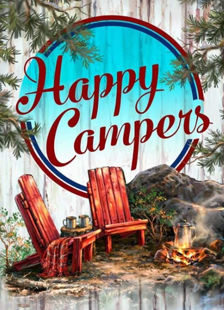 """8/26: Happy Campers (Full drill - round diamonds) 9.5""""x13.5"""" (#358)"""