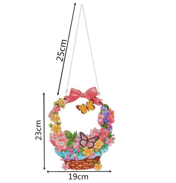 "9/23: Flower Basket Window Hanger 9""x7.5"" (#1253)"
