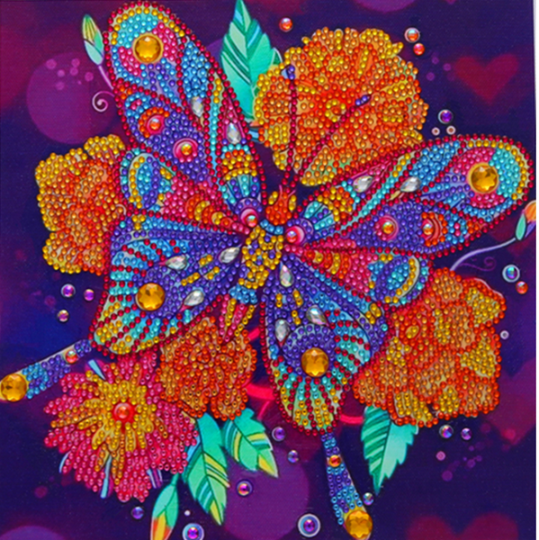 """9/12: Butterfly on Flowers (Partial) 9.5""""x9.5"""" (#1314)"""