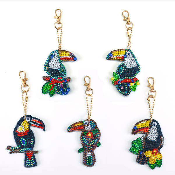 9/11 8PM DEAL: Tropical Bird Keychains - Set of 5 (#208)