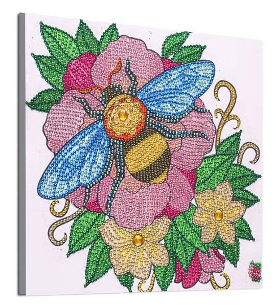 """9/7: Bee on Flower (Partial) 9.5""""x9.5"""" (#633)"""