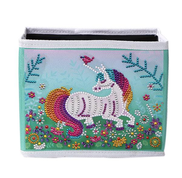 """8/19: Laying Unicorn Storage Container Box  6.5""""x7.5""""(#719)"""
