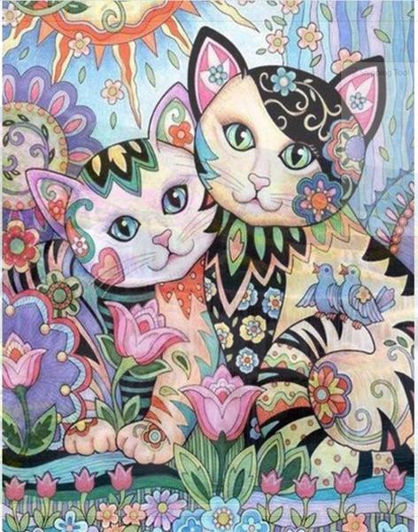 "9/7: Garden Cats (Full drill - round diamonds) 10""x14"" (#1121)"
