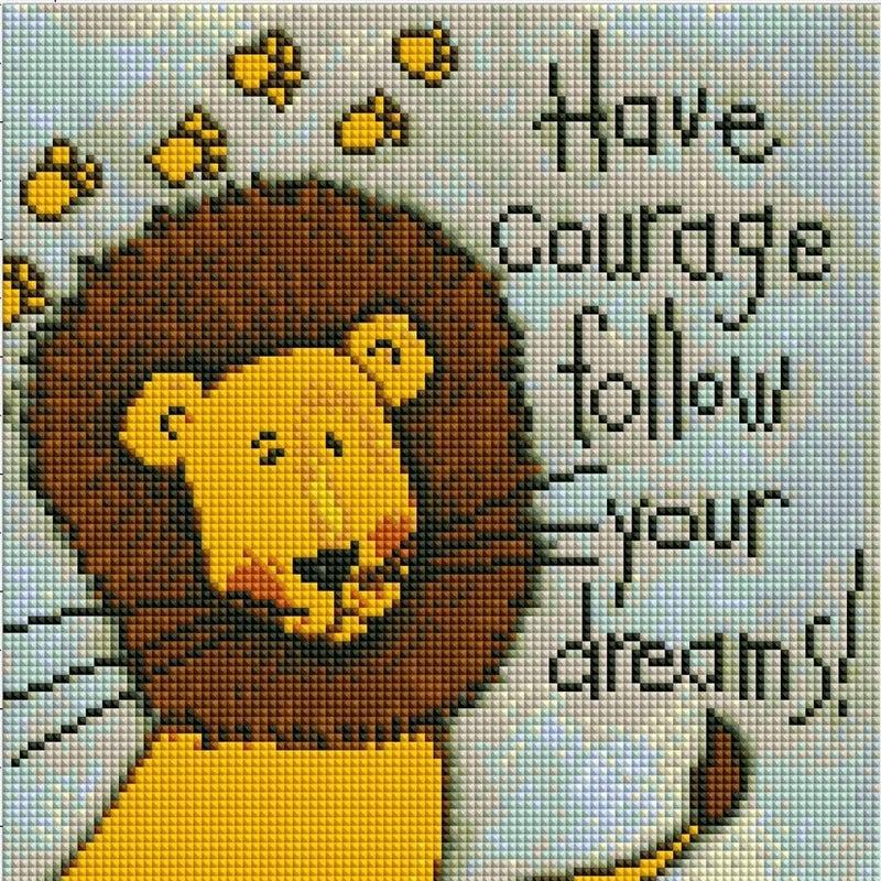 "8/7: Courage Lion (Full drill - round diamonds) 11.5""x11.5""(#237)"